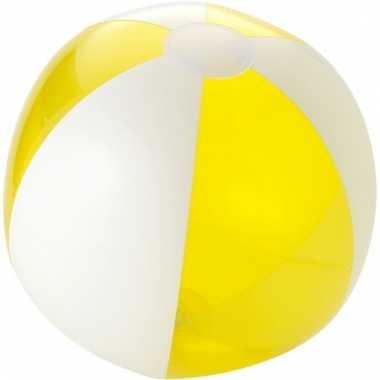 Opblaas strandbal geel met wit