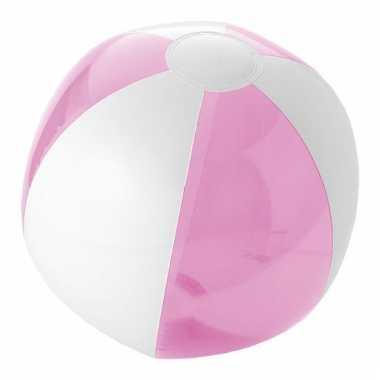Opblaas strandbal roze met wit