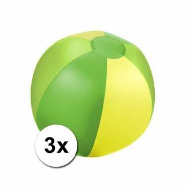 Opblaasbare ballen groen/geel voor op het strand 3x