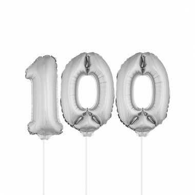 Opblaasbare cijfer 100 zilver 41 cm
