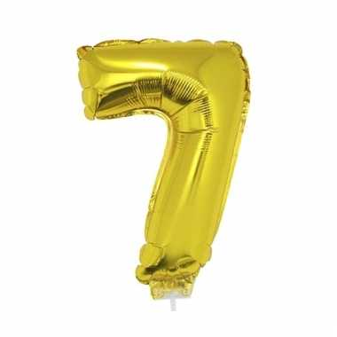 Opblaasbare cijfer 7 goud 41 cm