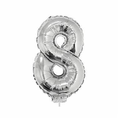 Opblaasbare cijfer 8 zilver 41 cm