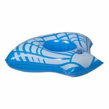 Opblaasbare drank houder blauwe zeeschelp 23 cm