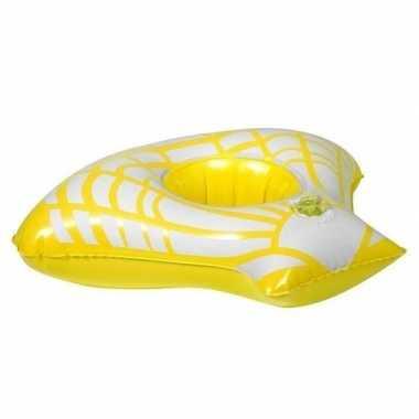 Opblaasbare drank houder gele zeeschelp 23 cm