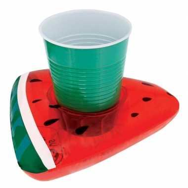 Opblaasbare drank houder watermeloen 19 cm