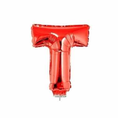 Opblaasbare letter t rood 41 cm