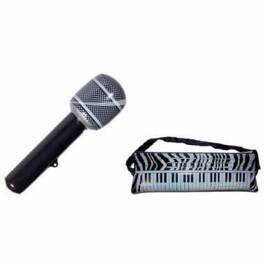 Opblaasbare muziekband set microfoon en keyboard