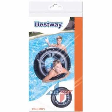 Opblaasbare zwemband autoband 91 cm