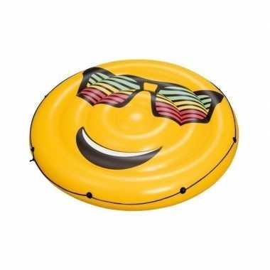 Opblaasbed smiley met zonnebril 188 cm