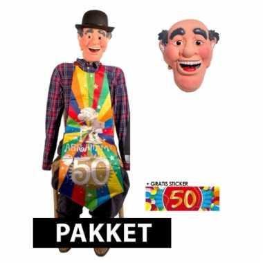 Opblaaspop abraham pop en masker 50 jaar 140 cm