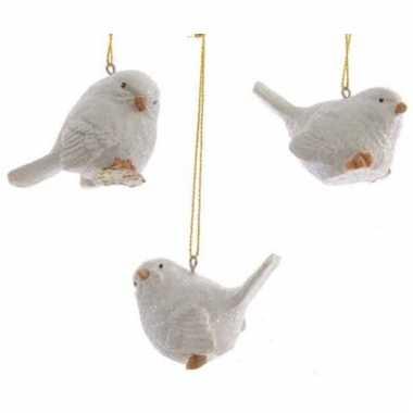 Ophang decoratie vogeltje wit 5 cm