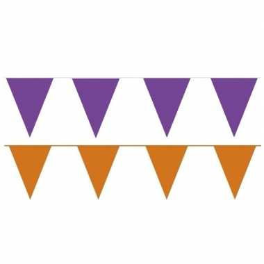 Orange and purple thema party vlaggetjes