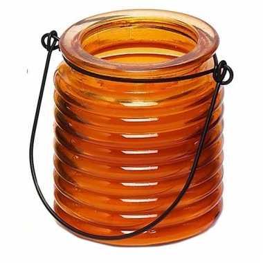 Oranje anti muggen kaars in glazen potje