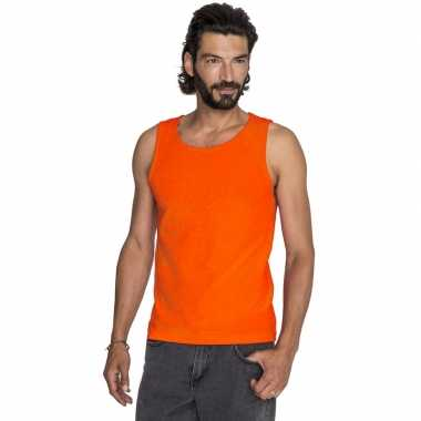 Oranje basic tops/hemden voor heren