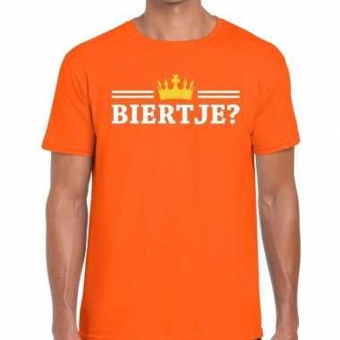 Oranje biertje en kroon shirt heren