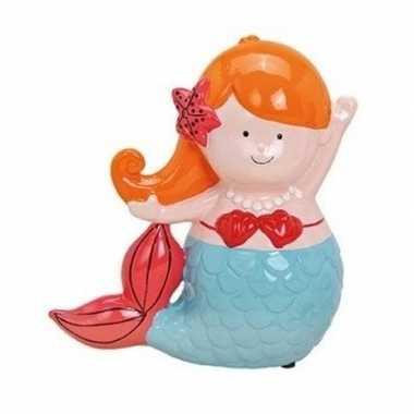 Oranje/blauwe zeemeerminnen spaarpot 17 cm