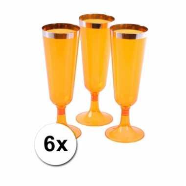 Oranje champagne flutes 6 stuks