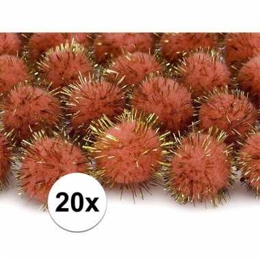 Oranje decoratie pompons 20 mm