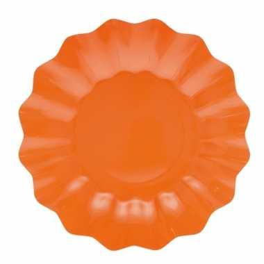 Oranje diepe barbecue borden 27 cm