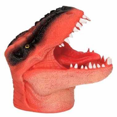 Oranje dinosaurus handpop 14 cm