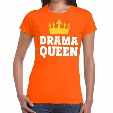 Oranje drama queen t-shirt voor dames