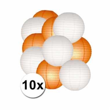 Oranje en witte feest lampionnen 10x