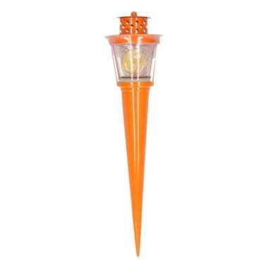 Oranje fakkel met kaarsje 35 cm
