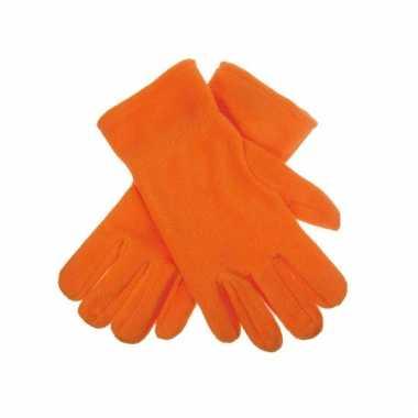 Oranje fleece handschoenen voor mannen en dames