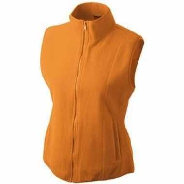 Oranje fleece sport bodywarmers voor dames