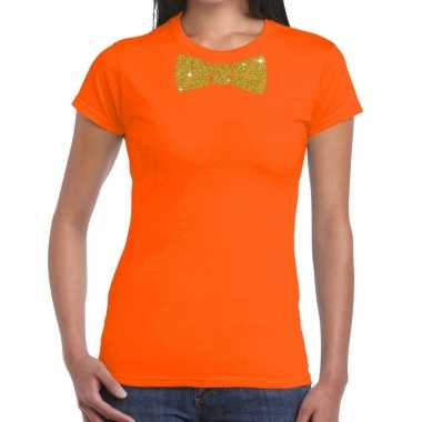 Oranje fun t-shirt met vlinderdas in glitter goud dames