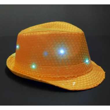 Oranje glitter hoedje met led licht