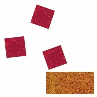 Oranje glitter mozaiek steentjes in doosje