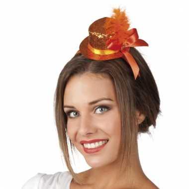 Oranje glitterhoed op haarband