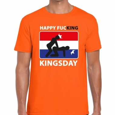 Oranje happy fucking kingsday t-shirt heren