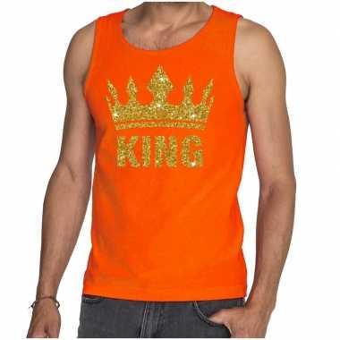 Oranje hemd voor heren gouden glitter king