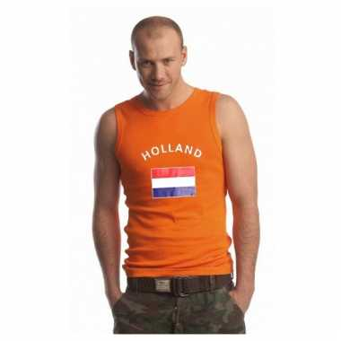 Oranje heren shirtje met nederlandse vlag