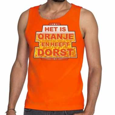 Oranje het is oranje en heeft dorst tanktop/mouwloos shirt heren