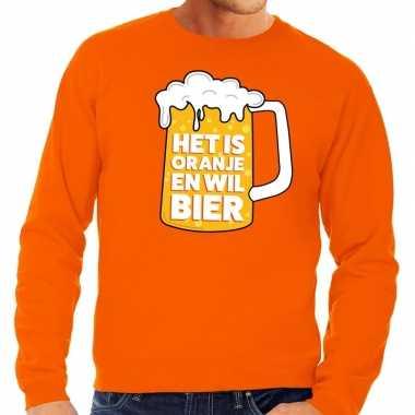 Oranje het is oranje en wil bier sweater heren