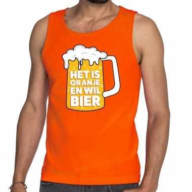Oranje het is oranje en wil bier tanktop/mouwloos shirt heren
