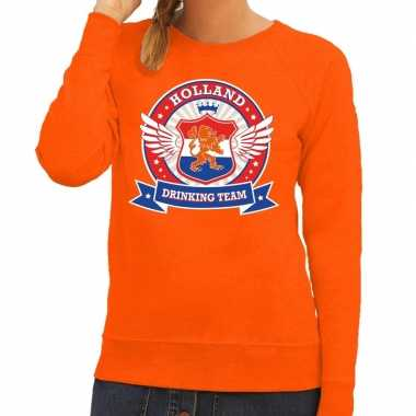 Oranje holland drinking team sweater dames