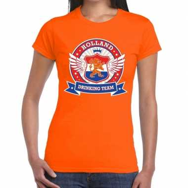 Oranje holland drinking team t-shirt dames