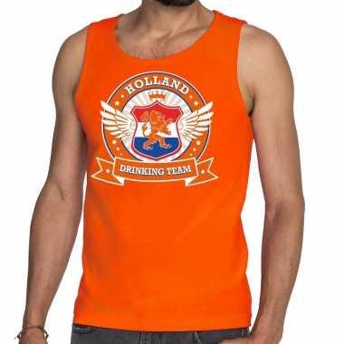 Oranje holland drinking team tankop / mouwloos shirt heren