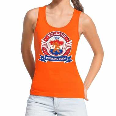 Oranje holland drinking team tanktop / mouwloos shirt dames