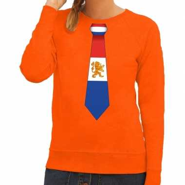 Oranje holland stropdas sweater dames