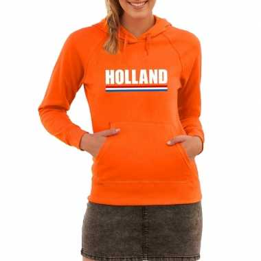 Oranje holland supporter sweater met capuchon dames