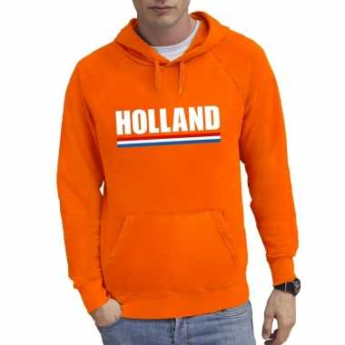 Oranje holland supporter sweater met capuchon heren
