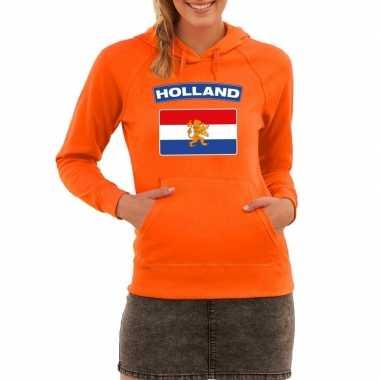 Oranje holland vlag sweater met capuchon dames
