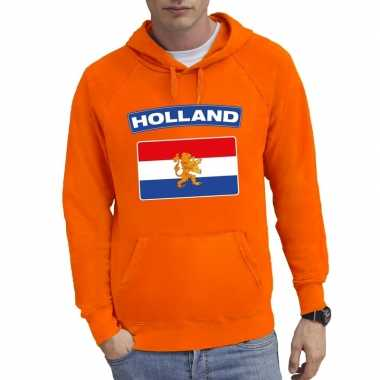 Oranje holland vlag sweater met capuchon heren