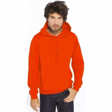 Oranje hooded sweater/trui voor heren