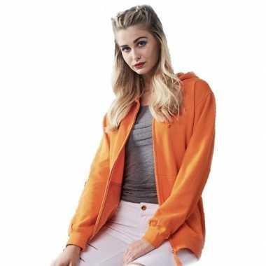 Oranje hooded vest/jasje voor dames